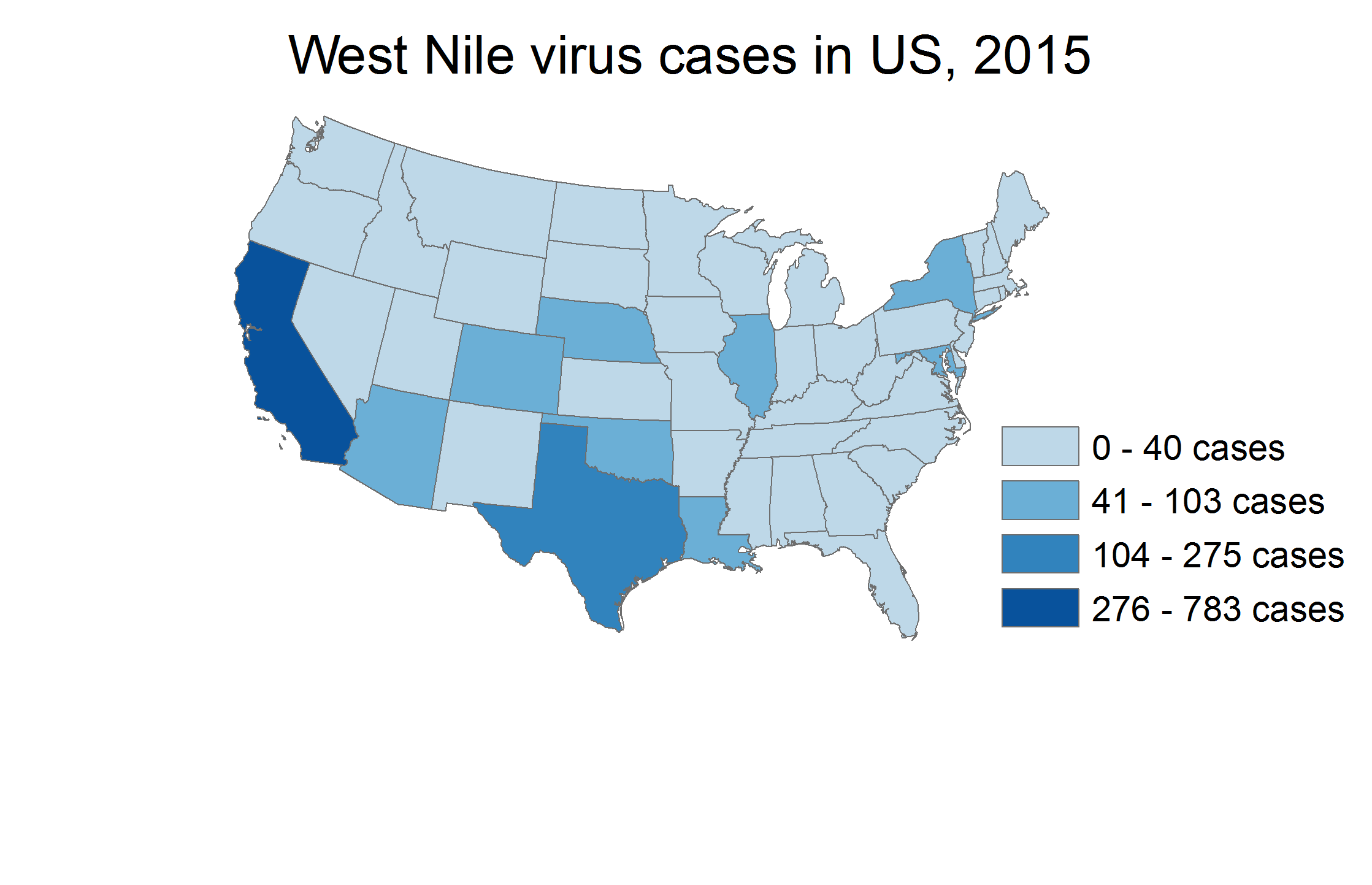 Map of West Nile Virus Cases in US in 2016