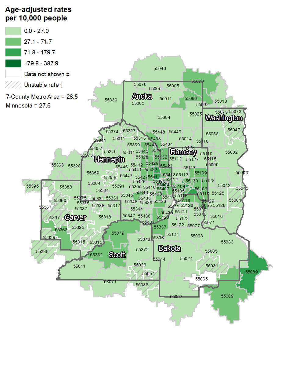 Asthma map by zip code