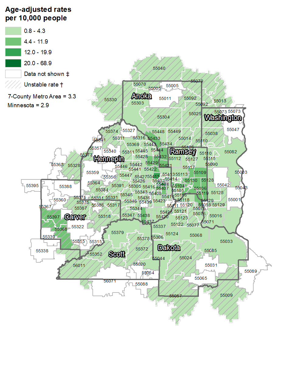 Asthma hospitalizations, by ZIP code