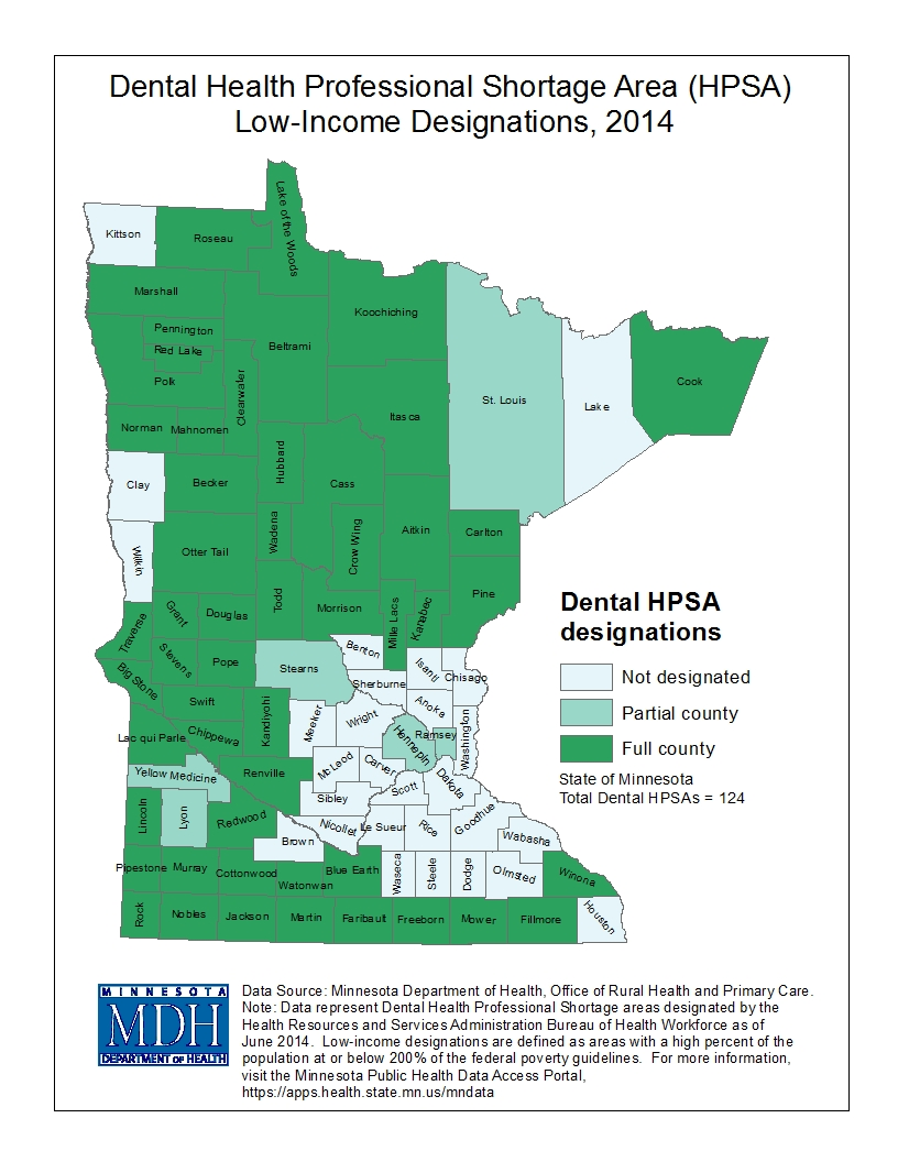 County map image health professional shortage areas and link to PDF of the same