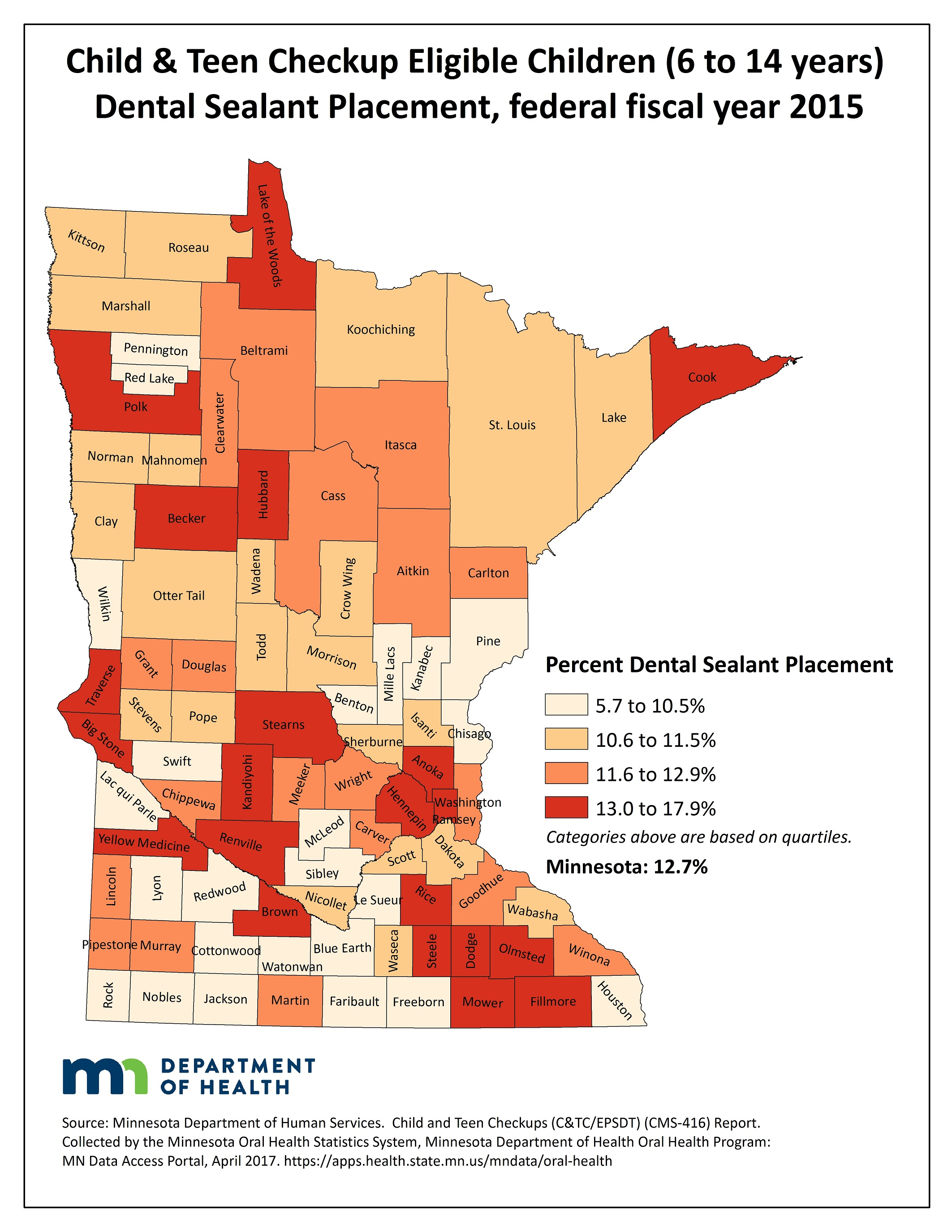 County map image Child & Teen Checkup Eligible Children (6 to 14 years) Dental Sealant Placement and link to PDF of the same