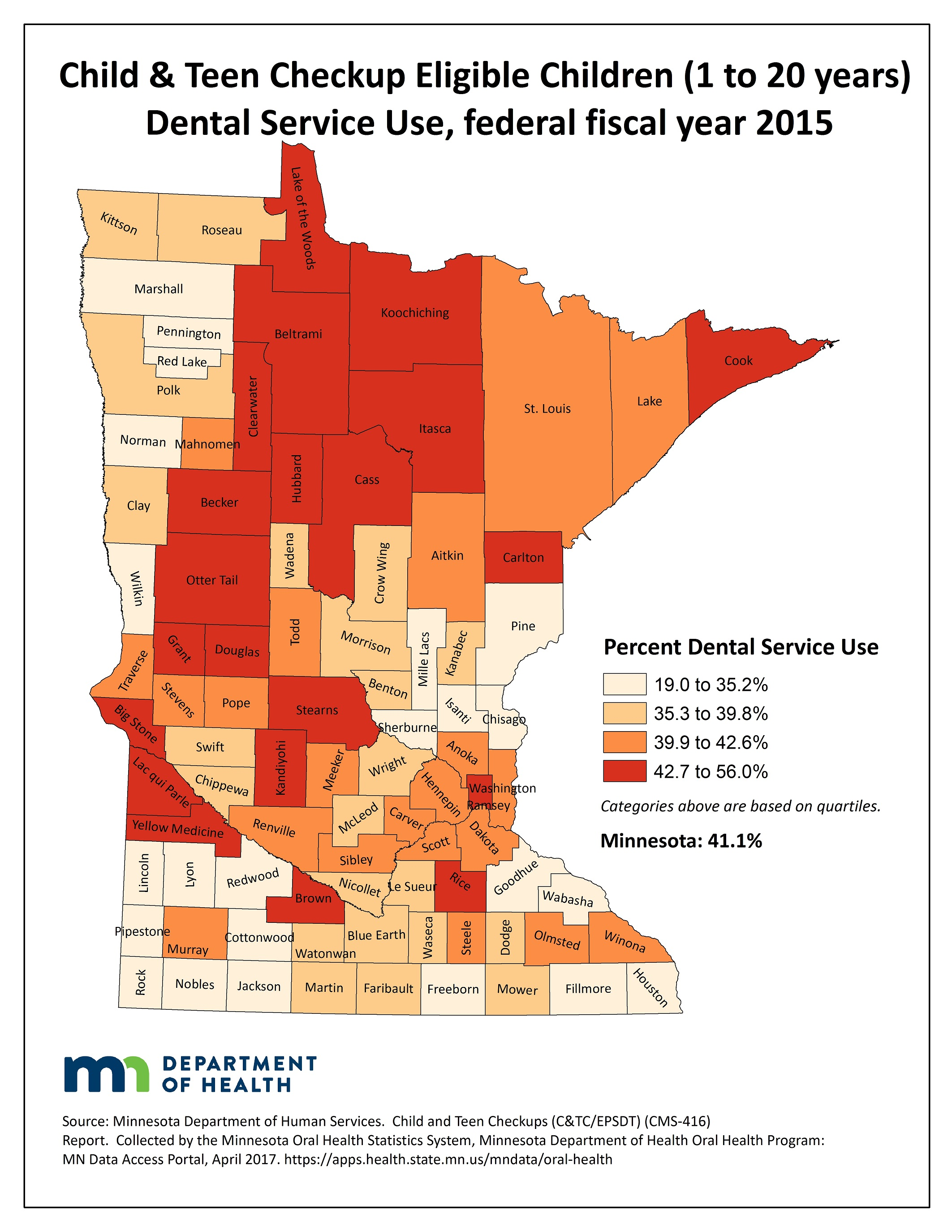 County map image Child & Teen Checkup Eligible Children (1 to 20 years) Dental Service Use and link to PDF of the same