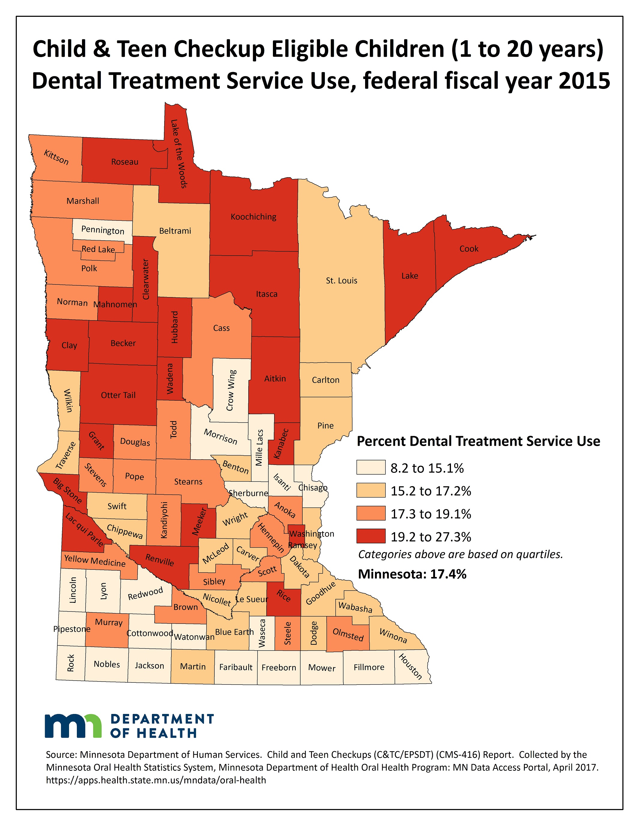 County map image Child & Teen Checkup Eligible Children (1 to 20 years) Dental Treatment Service Use and link to PDF of the same