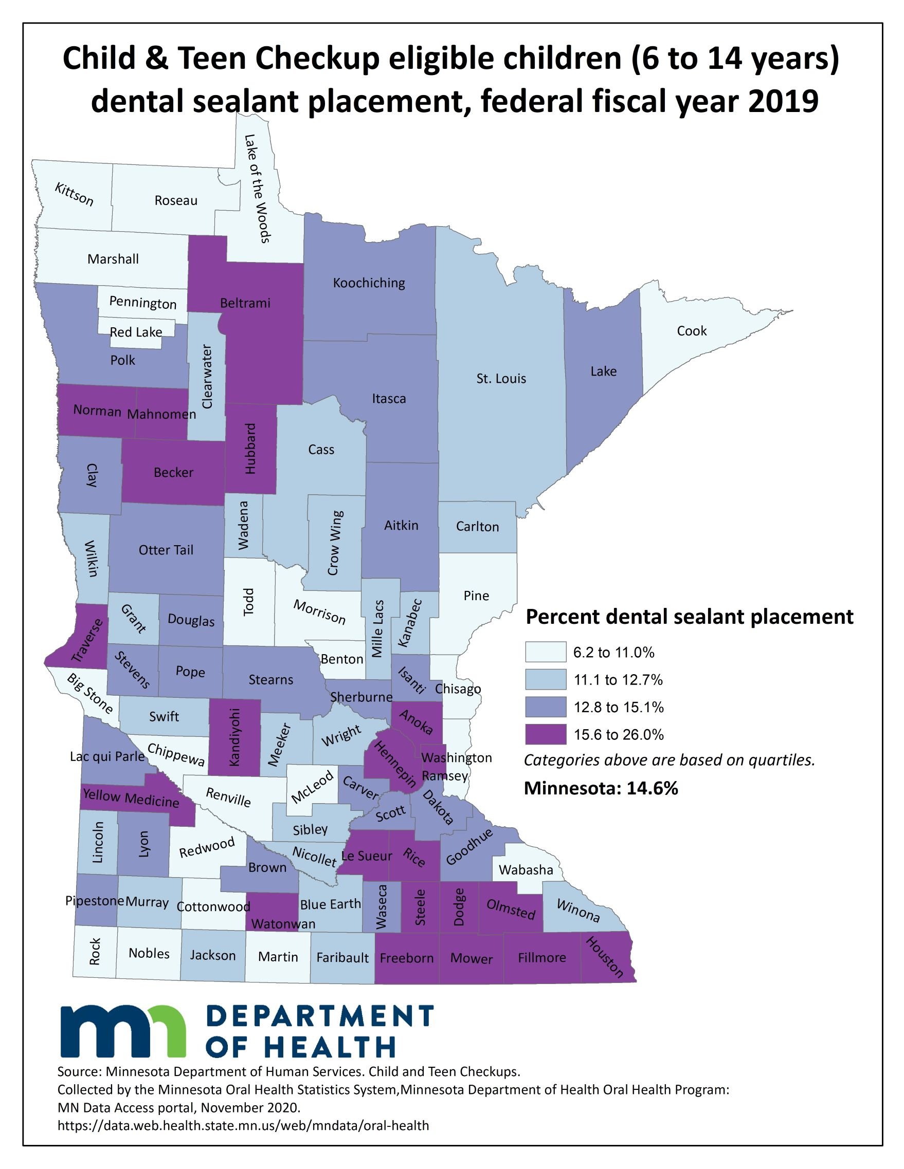 County map image Child & Teen Checkup Eligible Children (1 to 20 years) Dental Sealant Use and link to PDF of the same