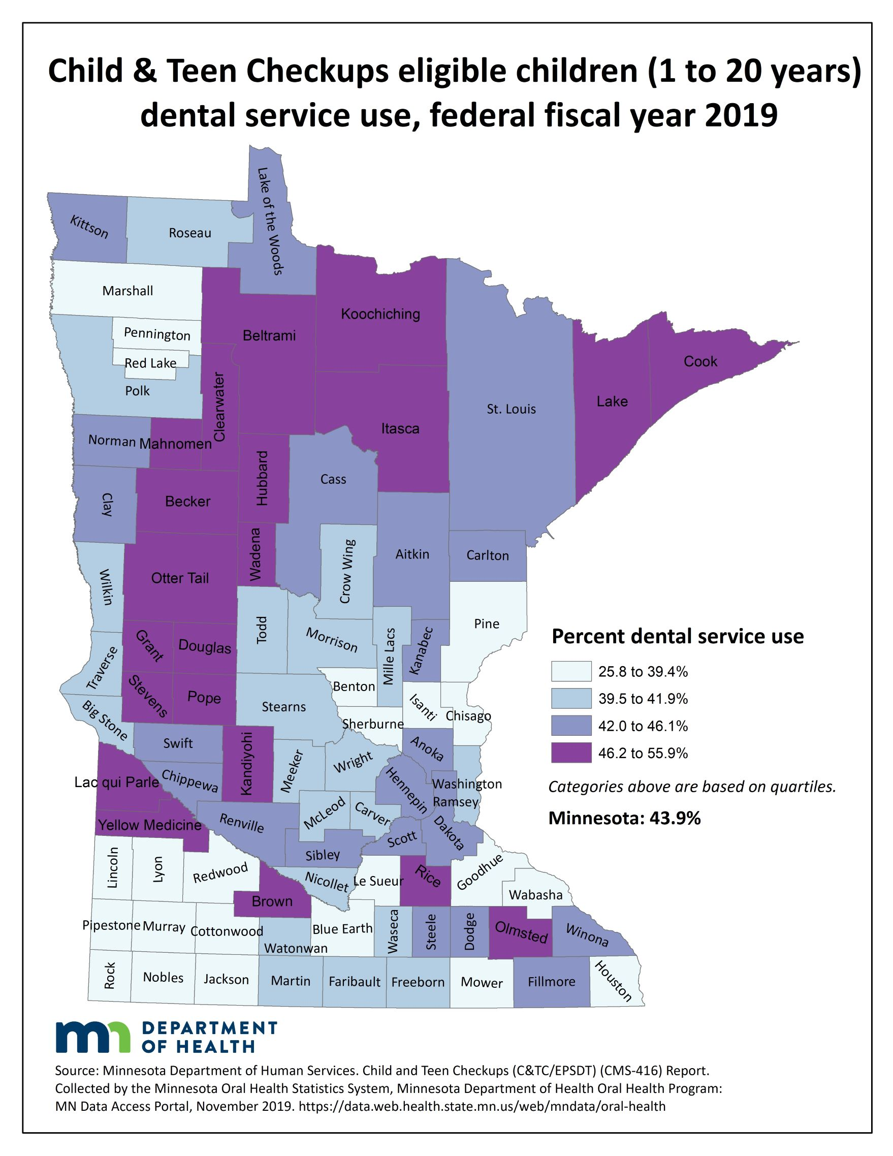 County map image Child $amp; Teen Checkup Eligible Children (1 to20 years) Dental Service Use and link to PDF of the same