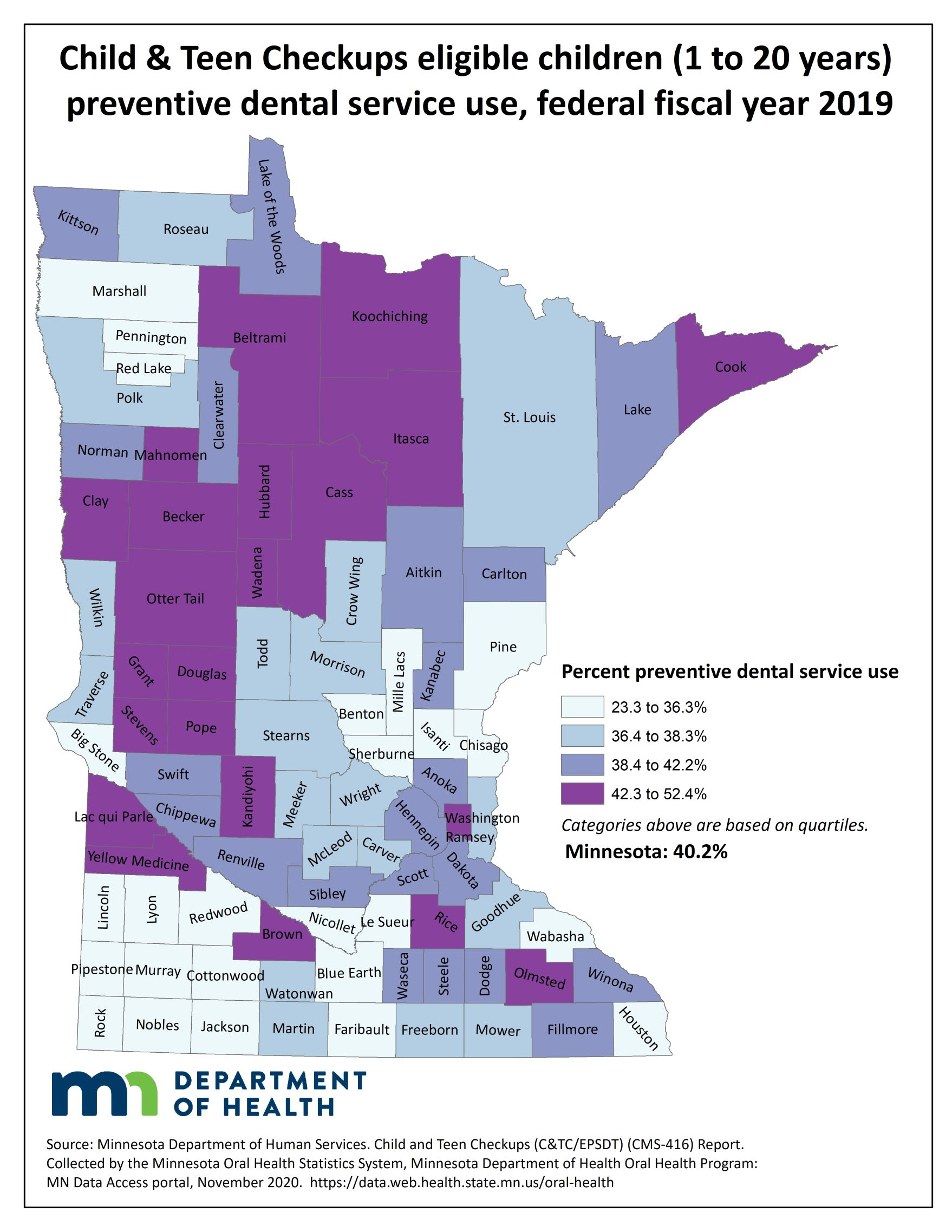 County map image Child & Teen Checkup Eligible Children (1 to 20 years) Non-Dentist Oral Health Service Use and link to PDF of the same